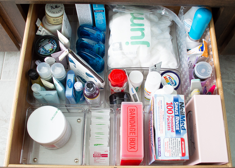 Bottom Drawer Organized Toiletries, First Aid, Cuticle Care